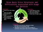 three basic price structures and difficulties associated with usage for services