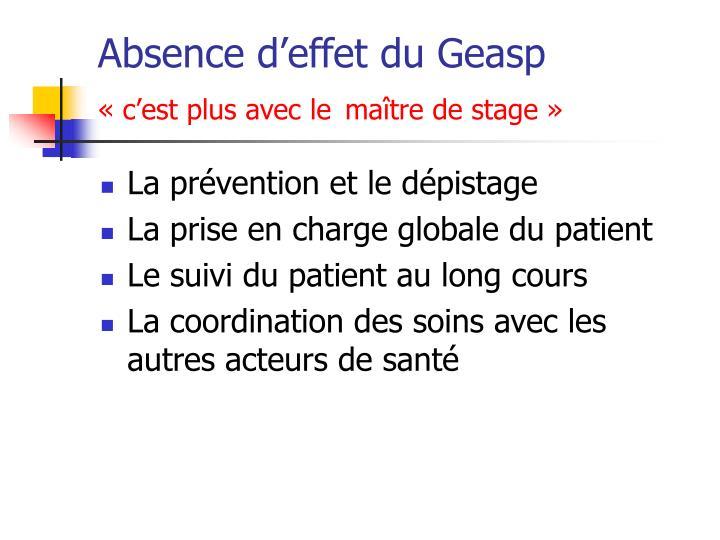 Absence d'effet du Geasp