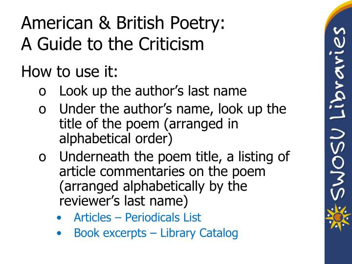 American & British Poetry: