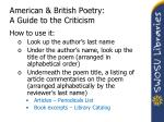 american british poetry a guide to the criticism