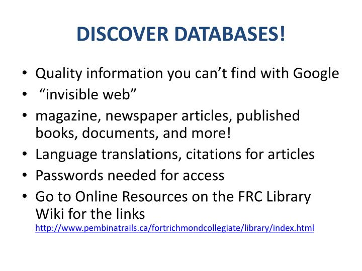 DISCOVER DATABASES!