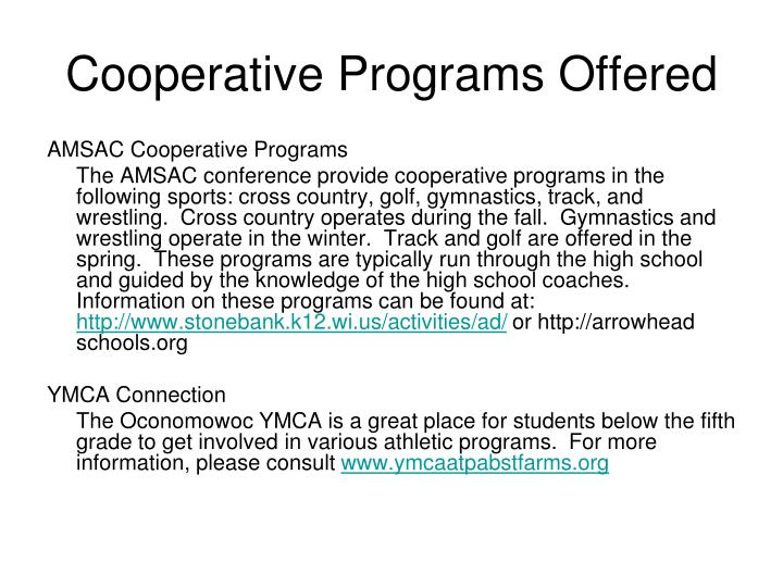 Cooperative programs offered