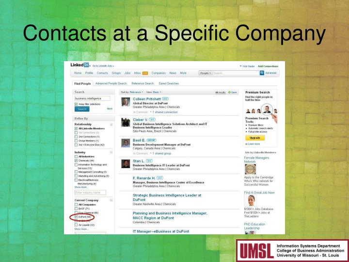 Contacts at a Specific Company