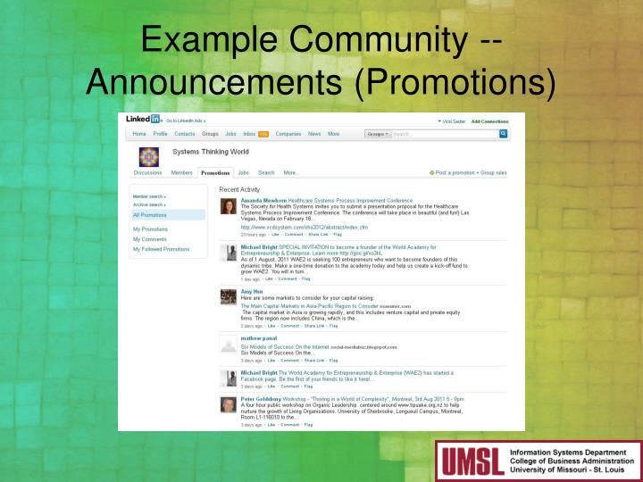 Example Community -- Announcements (Promotions)