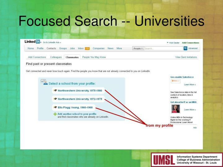Focused Search -- Universities