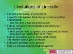 limitations of linkedin