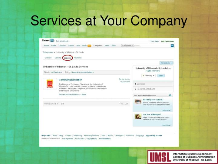 Services at Your Company