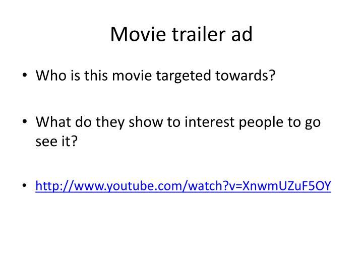 Movie trailer ad