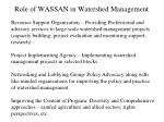 role of wassan in watershed management1