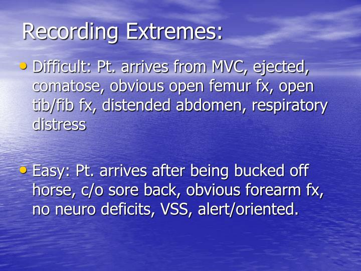 Recording Extremes: