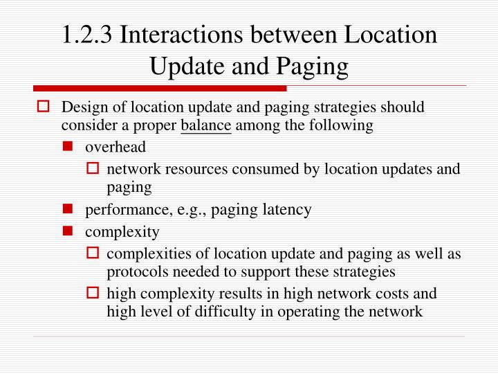 1.2.3 Interactions between Location
