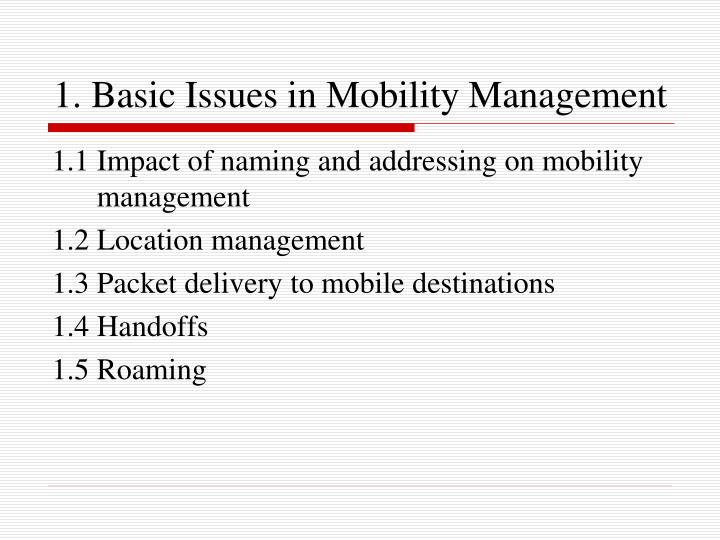 1 basic issues in mobility management