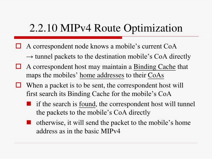 2.2.10 MIPv4 Route Optimization