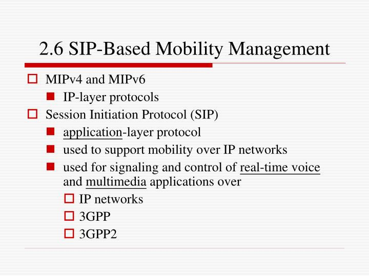 2.6 SIP-Based Mobility Management
