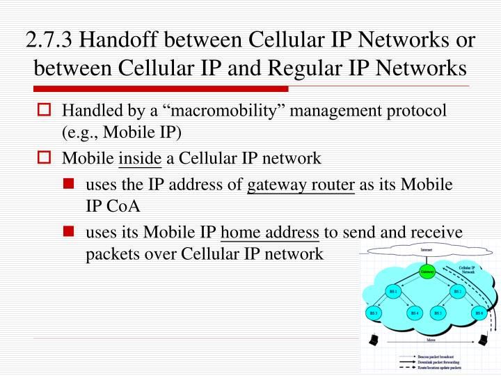 2.7.3 Handoff between Cellular IP Networks or between Cellular IP and Regular IP Networks