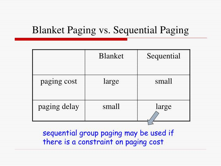 Blanket Paging vs. Sequential Paging
