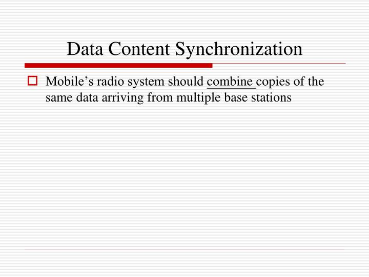 Data Content Synchronization