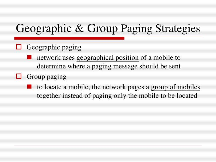 Geographic & Group