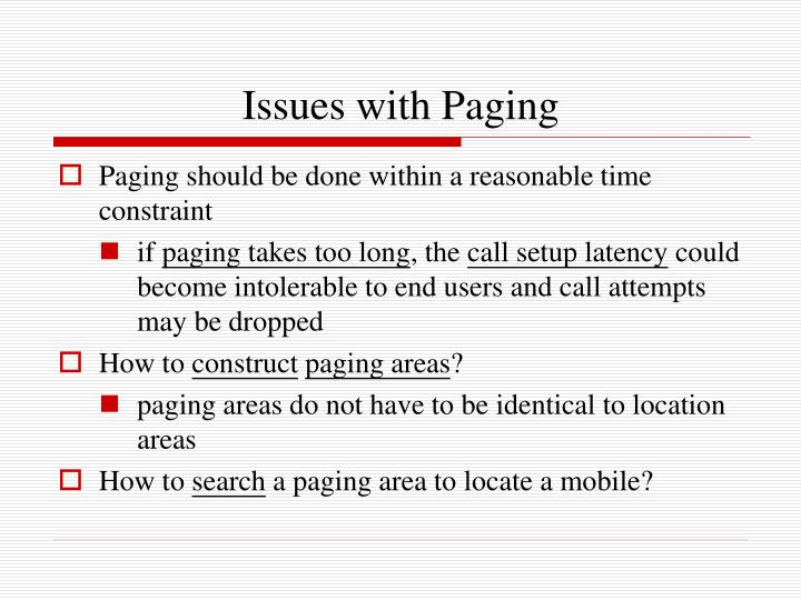 Issues with Paging