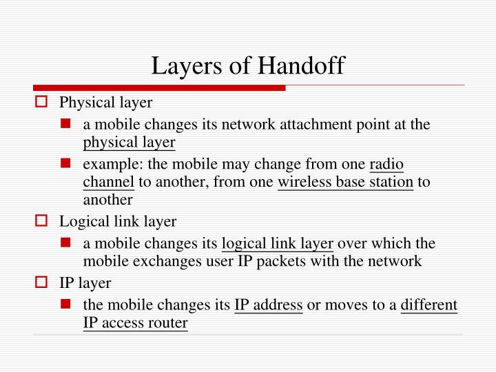 Layers of Handoff