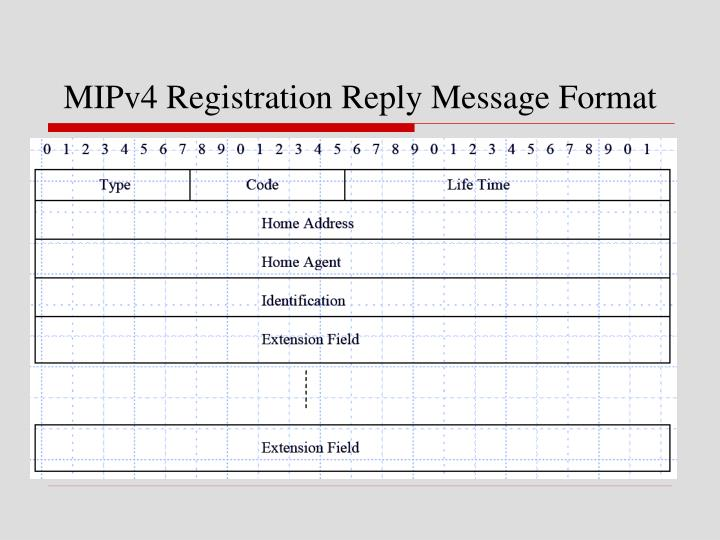 MIPv4 Registration Reply Message Format