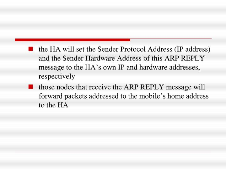 the HA will set the Sender Protocol Address (IP address) and the Sender Hardware Address of this ARP REPLY message to the HA's own IP and hardware addresses, respectively
