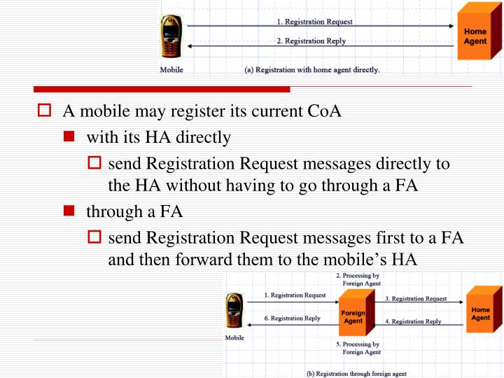 A mobile may register its current CoA