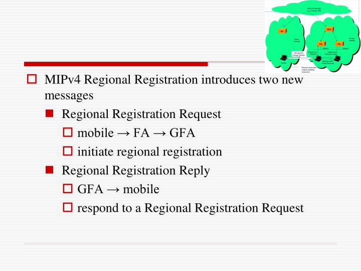 MIPv4 Regional Registration introduces two new messages