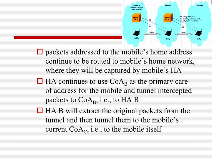 packets addressed to the mobile's home address continue to be routed to mobile's home network, where they will be captured by mobile's HA