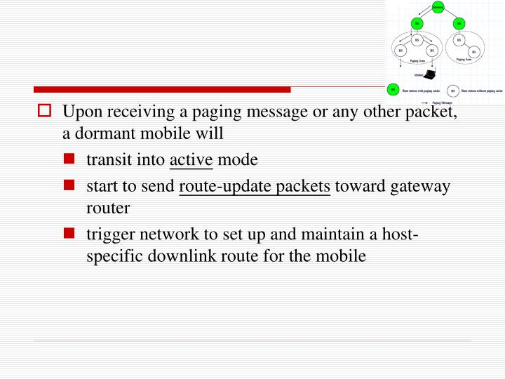 Upon receiving a paging message or any other packet, a dormant mobile will