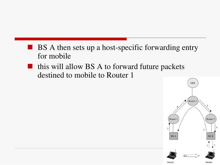 BS A then sets up a host-specific forwarding entry for mobile