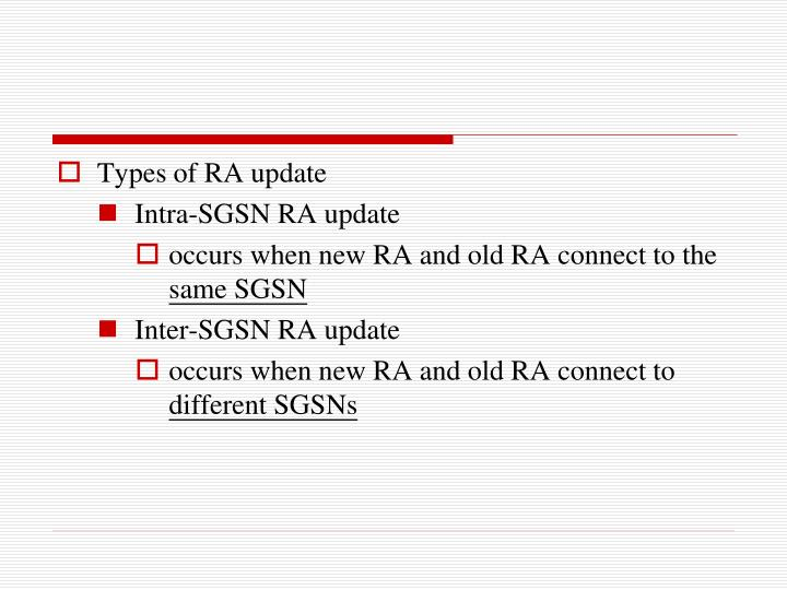 Types of RA update