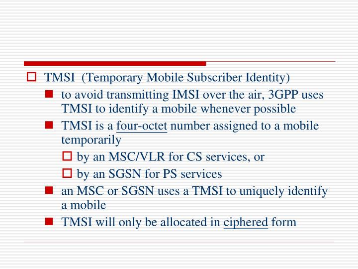 TMSI  (Temporary Mobile Subscriber Identity)