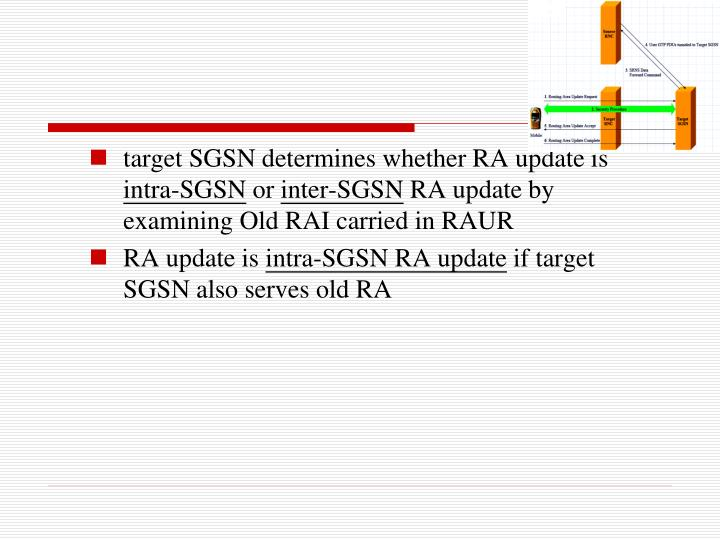 target SGSN determines whether RA update is