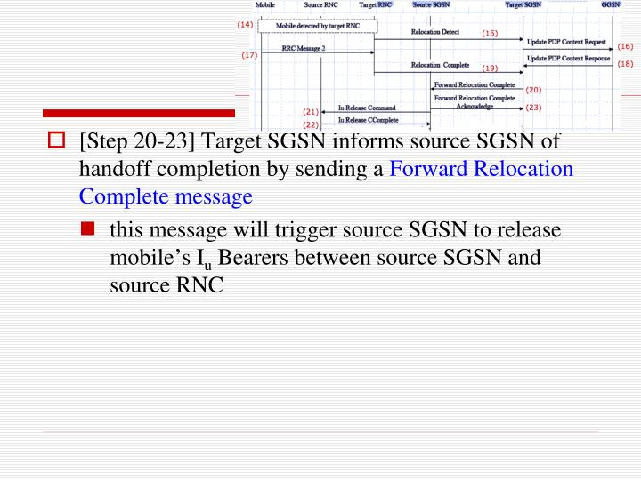 [Step 20-23] Target SGSN informs source SGSN of handoff completion by sending a