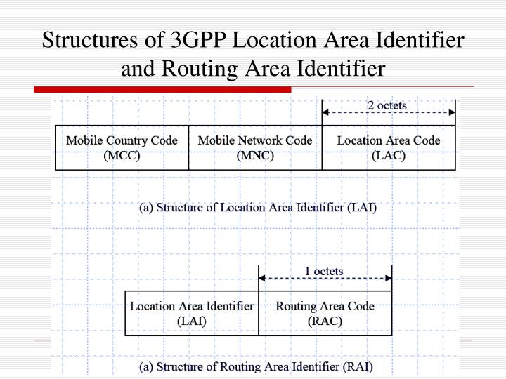 Structures of 3GPP Location Area Identifier and Routing Area Identifier