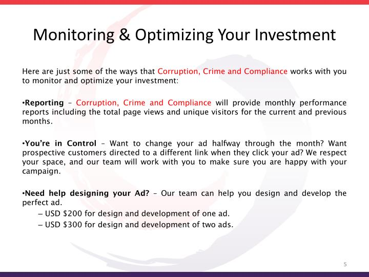 Monitoring & Optimizing Your Investment