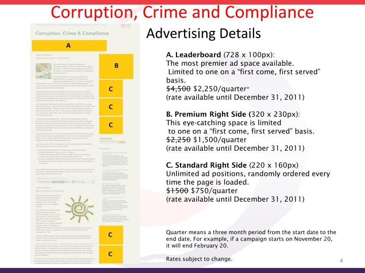 Corruption, Crime and Compliance