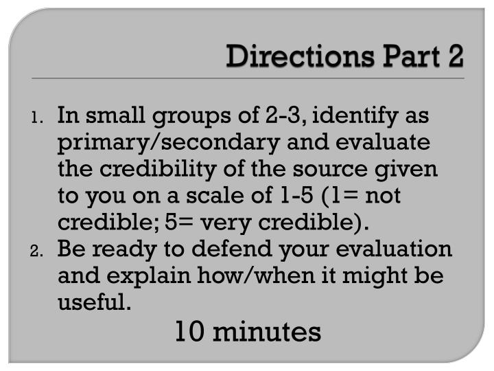 Directions Part 2