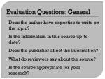 evaluation questions general