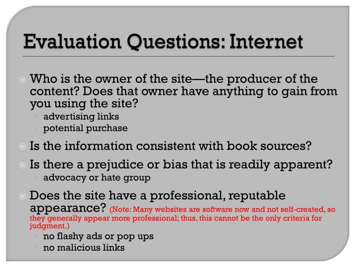 Evaluation Questions: Internet