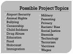 possible project topics