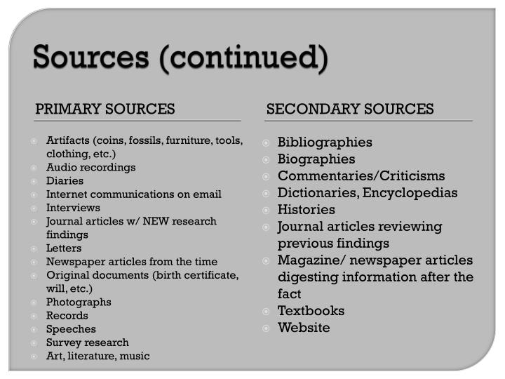 Sources (continued)