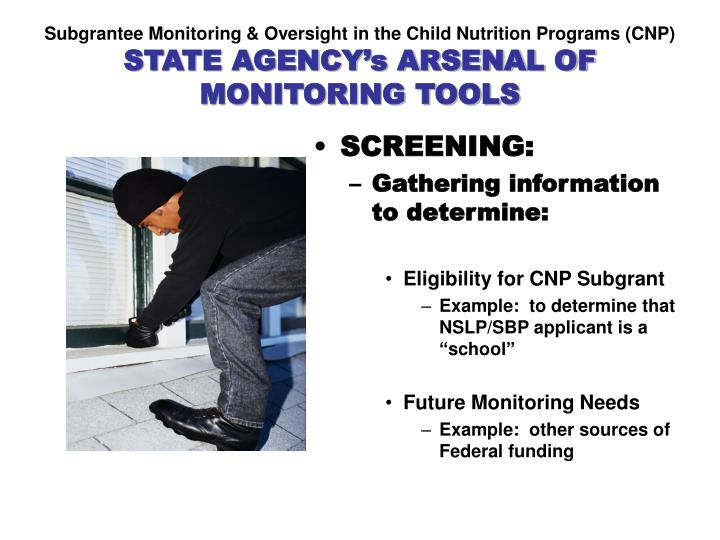 Subgrantee Monitoring & Oversight in the Child Nutrition Programs (CNP)