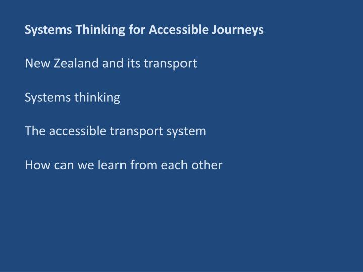 Systems Thinking for Accessible Journeys