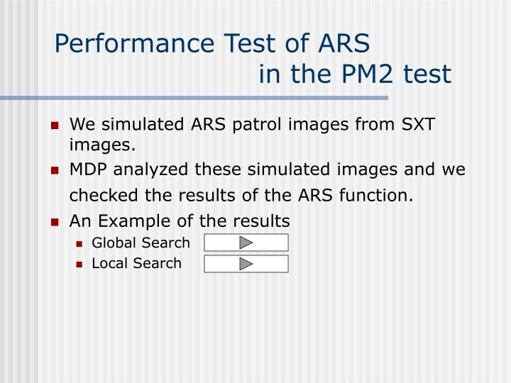 Performance Test of ARS