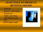 many ways to produce revenue online
