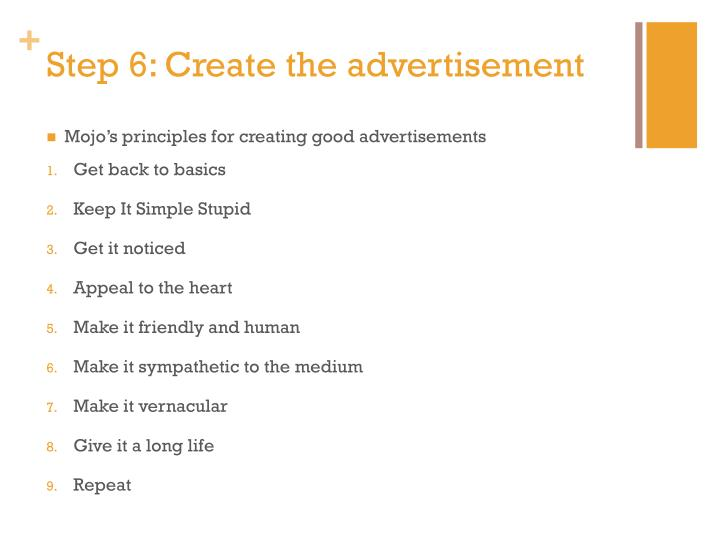 Step 6: Create the advertisement