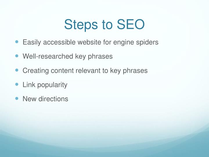Steps to SEO