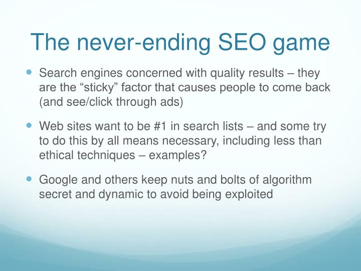 The never-ending SEO game